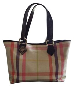 Burberry Spring Tote in Pink/purple/green/orange/beige/yellow/Brown plaid