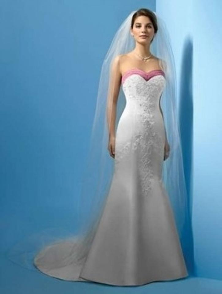 Alfred Angelo Ivory/Sugar Plum Satin 1181 Formal Wedding Dress Size ...