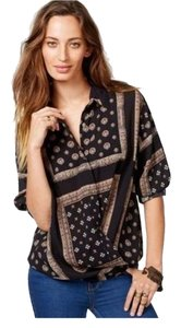 Free People Boho Ethnic Top Black
