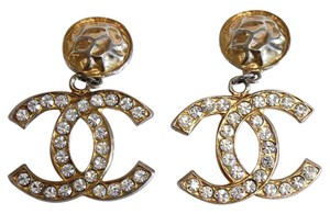Chanel Vintage CC Crystal Dangle Earrings