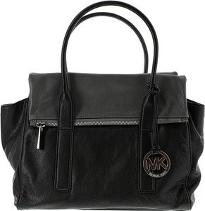 Michael Kors Large Tippi Handbag Tote Satchel in Black/Dark Slate