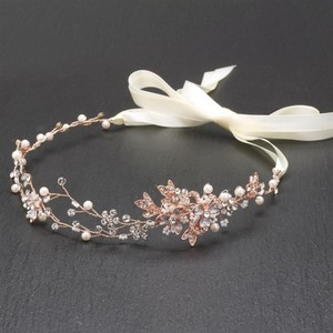 Mariell Mariell Handmade Bridal Headband With Painted Gold Rose Vines