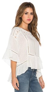Free People Boho Vintage Embroidered Cut Work Top Ivory