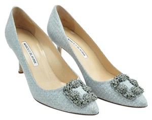 Manolo Blahnik Hangisi Wedding Silver Pumps