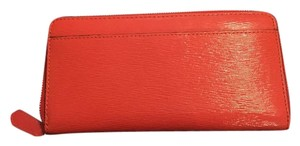 Coach Poppy patent Leather Accordian zip wallet