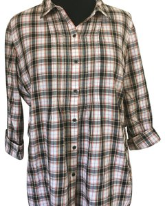 J. Jill Button Down Shirt Orange /black and white plaid