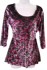 Decree Burnout Velvet Top Pink and Black