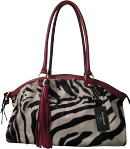 Cavalcanti Leather Calf Hair Pony Hair Satchel in Red & Zebra Stripe