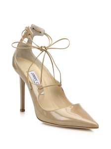 Jimmy Choo Patented Leather Lace Up Heels Vita Nude Pumps