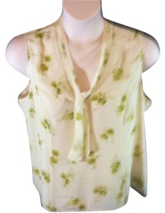Coldwater Creek Floral Sleeveless Scarf Button Front Top Green