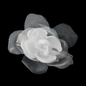 Sweet Petite Organza & Matte Satin Flower Wedding Bridal Hair Clip