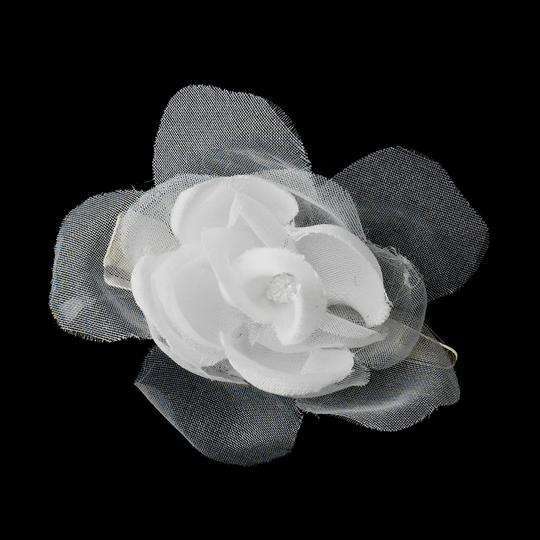 Ivory Or White Sweet Petite Organza Matte Satin Flower Clip Hair Accessory