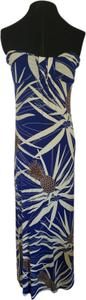 Blue/Brown/White Maxi Dress by Fighting Eel Strapless Pool