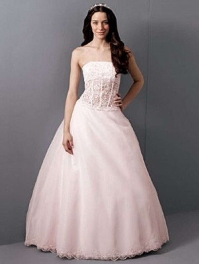 Alfred Angelo Pink 1653 Formal Wedding Dress Size 8 (M)
