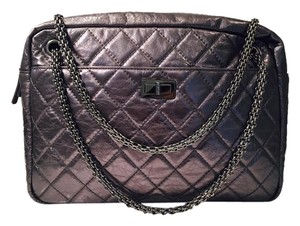 Chanel Leather Gunmetal Quilted Classic Shoulder Bag