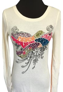 Lucky Brand Embroidered Peace Love Sweater