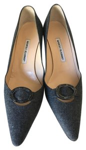 Manolo Blahnik Grey Flannel Pumps