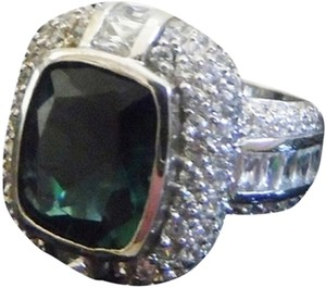 Charles Winston Charles Winston .925 Sterling Silver Absolute Emerald Green Pave & Baguette Ring Size 7.5