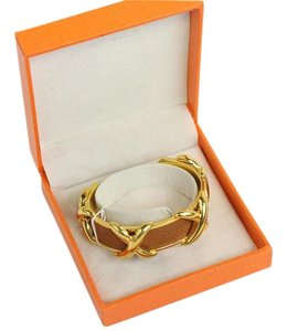 Hermès Brown Leather Gold Tone Cuff Open Bangle Bracelet