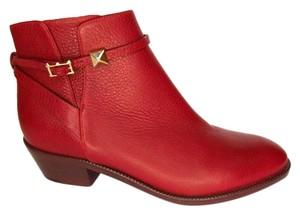 Valentino Rockstud Calfskin Pointed Toe Red Boots