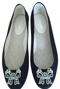 Chanel Bow Crystal Black Flats