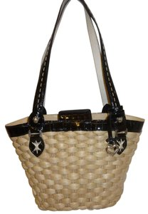 Brighton Refurbished Straw Patent Leather Hobo Bag