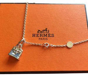 Hermès Authentic Rare Hermes Birkin Charm Sterling Silver Necklace w/ Box EUC