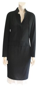 Narciso Rodriguez NARCISO RODRIGUEZ 2 PC BLACK JACKET & SKIRT SUIT, CREAM SILK RUFFLE