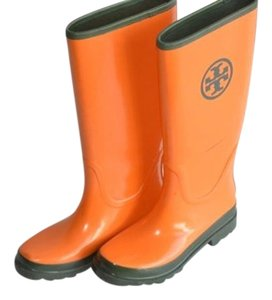 Tory Burch Rain Glossy Finish Medallion Logo Orange Boots