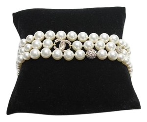 Chanel Pearl Bracelet Gold Tone Clear Amethyst Crystals 3 Strand Pearls