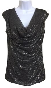 Ann Taylor Sequin Draped Top Gray