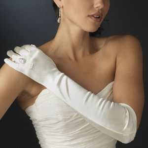 Elegant Wedding Bridal Ring Finger Satin Gloves