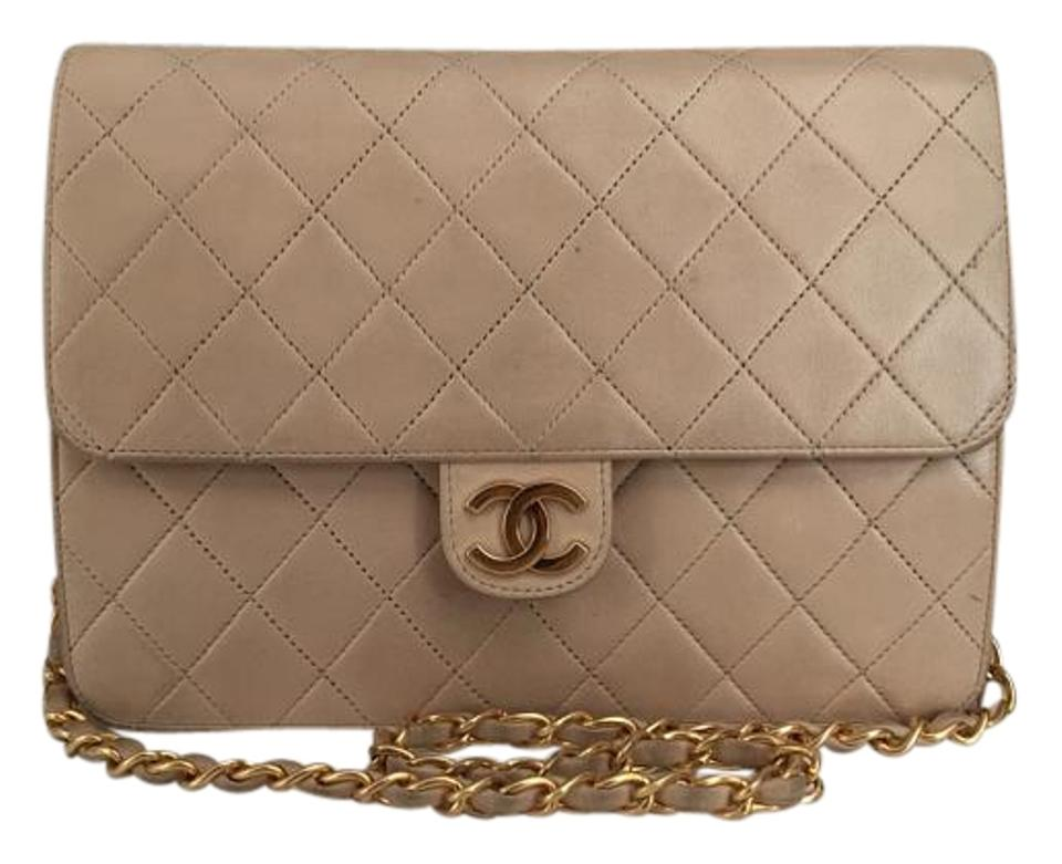 7786de8944a916 Chanel Vintage Quilted Single Flap Lambskin Gold Hw Push Lock Beige ...