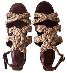 Tory Burch Leather Woven Soft Bohemian Chic Tan Sandals