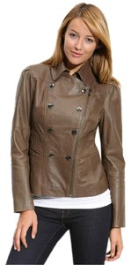 Kenneth Cole Taupe Mushroom Leather Jacket