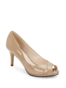Cole Haan Patent Leather Peep Toe Maple Sugar Pumps