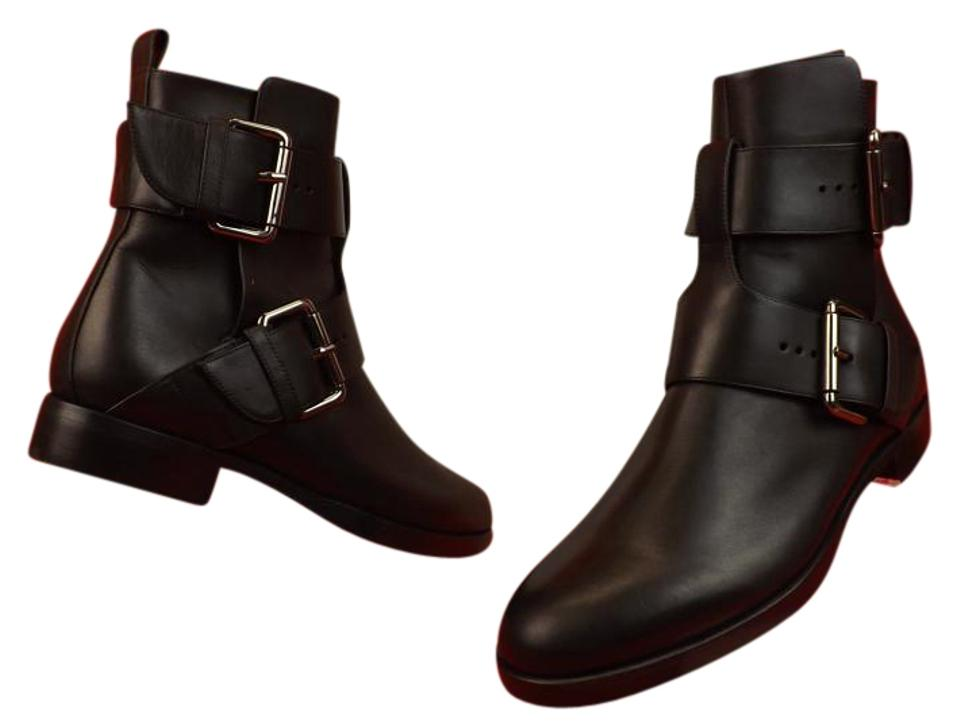 Pierre Calf Hardy Black Double-buckle Motorcycle Calf Pierre Leather Ankle Boots/Booties 65d5d4