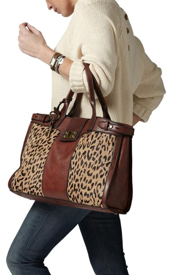 68e762dfbf8b Fossil Rare Vintage Re-issue Leopard Cheetah Print Brown Leather Leather Faux  Fur Weekend Travel Bag
