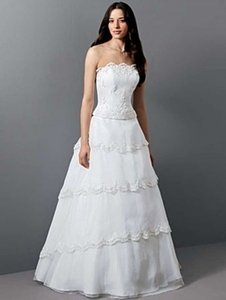 Alfred Angelo White Organza 1655 Formal Wedding Dress Size 10 (M)