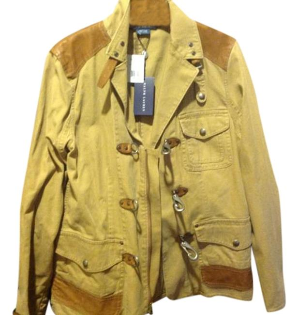 Item - Beige with Tan Leather Insets W Tags.. Jacket Size 12 (L)