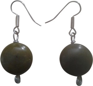 handmade New HANDMADE Gemstone EARRINGS Olive Green SERPENTINE JADE Silver Wire