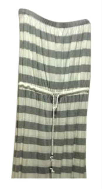 Item - Gray and White Stripe Strapless Like New. Long Casual Maxi Dress Size 8 (M)