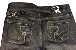 Rock & Republic Studded Denim Straight Leg Jeans-Dark Rinse