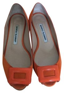 Manolo Blahnik Open Toe Suede Orange Flats