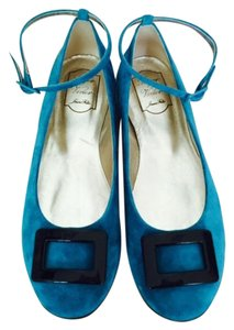 Roger Vivier Suede Turquoise Flats