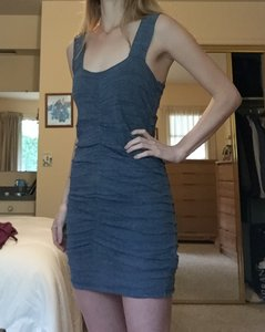 Zara short dress Blue Ruched Bodycon Knit Sleeveless Mini on Tradesy