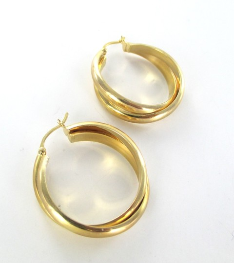 Other 14KT YELLOW GOLD EARRINGS DOUBLE HOOP 5.9 GRAMS FINE JEWELRY ESTATE STUNNING