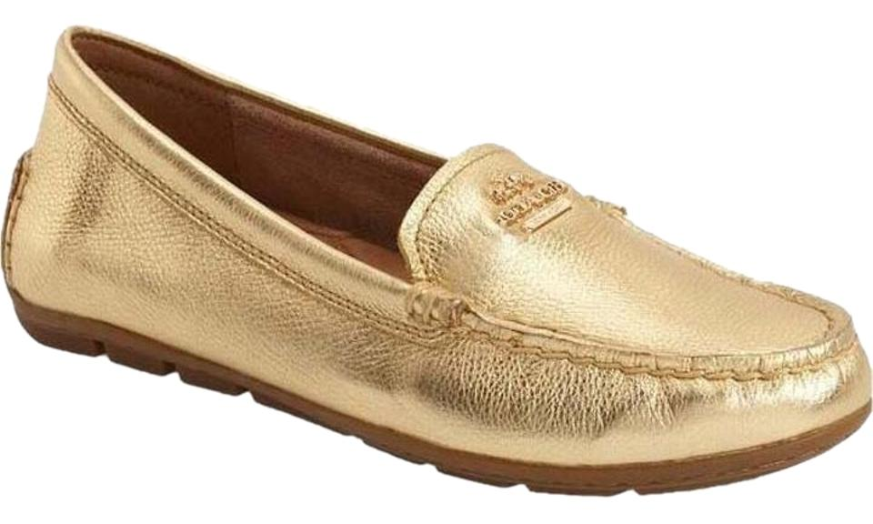 f78feadff7d Coach Gold Mary Lock Up Leather Metallic Driving Loafers Flats Size ...