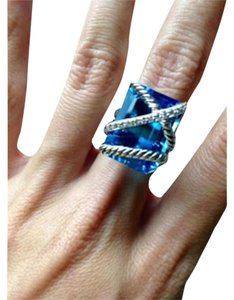 David Yurman Cable Wrap Ring With Hampton Blue Topaz And Diamonds 20mx15m