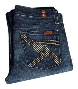 7 For All Mankind Gold Stitch Straight Leg Jeans-Dark Rinse